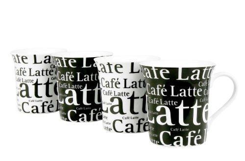 Konitz Café Latte Writing Cups 12-Ounce BlackWhite Set of 4