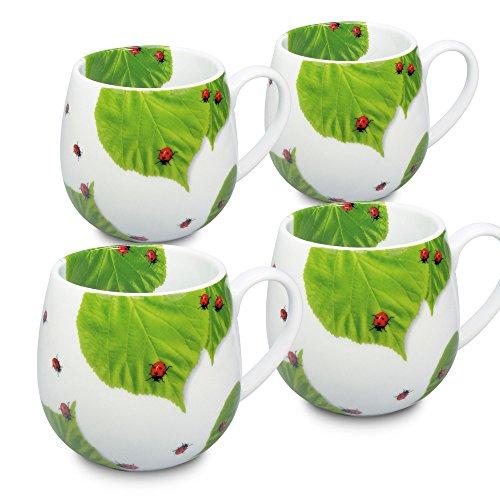 Konitz Ladybug On Leaves Porcelain Snuggle Mugs Set of 4 White