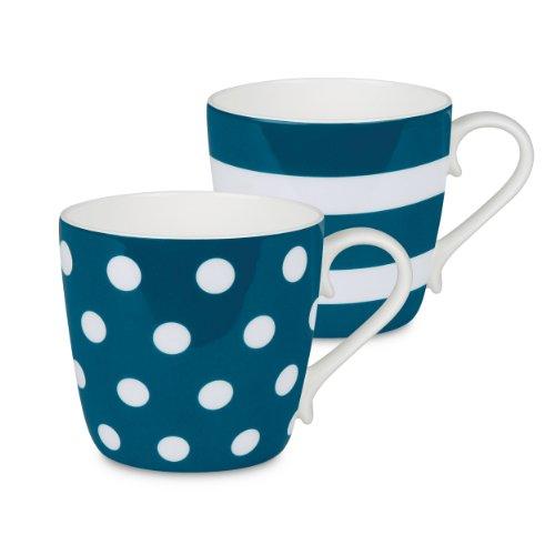 Konitz Turquoise Dots and Stripes Mugs Set of 2
