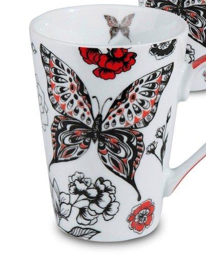 Waechtersbach Konitz Porcelain Mug - Black Red Butterfly
