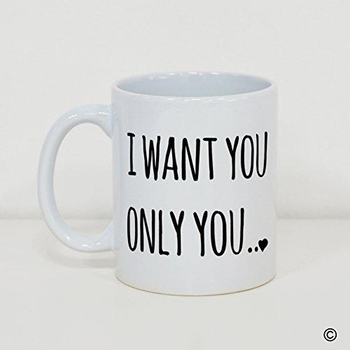 MsMr Custom White Mug 11oz - Personalized Mug Design - I Love You Only You CoffeeTea Mug