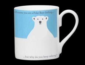 Silhouette Blue Polar Bear Funny Bone China Mug - Stoke on Trent England - Im Freezing