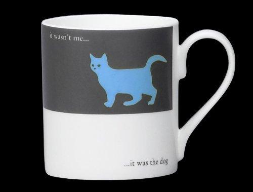 Silhouette Cat Funny Bone China Mug It Was The Dog Stoke On Trent England Blue