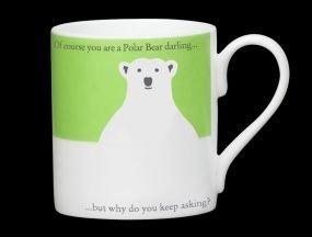 Silhouette Green Polar Bear Funny Bone China Mug - Stoke on Trent England - Im Freezing