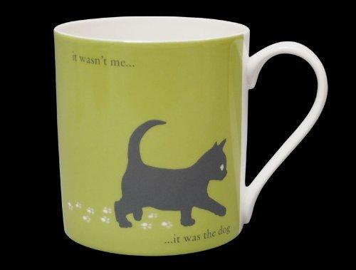 Silhouette Kitten Funny Bone China Mug It Was The Dog Stoke On Trent England Large Green