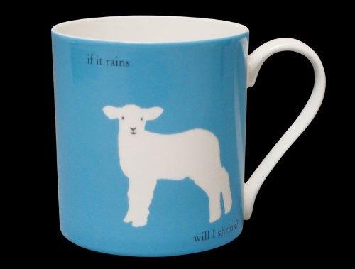 Silhouette Lamb Funny Bone China Mug If It Rains Will I Shrink Stoke On Trent England Large Blue