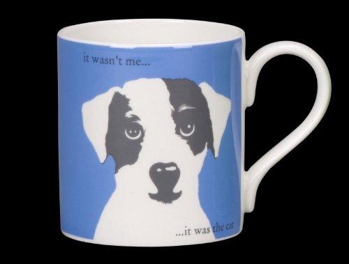 Silhouette Portrait Cornflower Scruff Puppy Funny Bone China Mug It Was The Cat Stoke On Trent England Blue