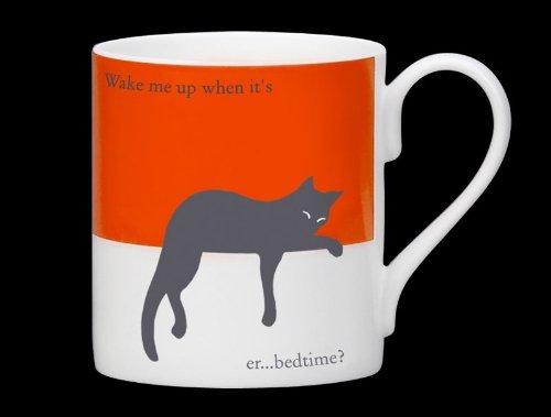 Silhouette Sleepy Cat Funny Bone China Mug Stoke On Trent England Orange