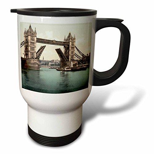 3dRose Russ Billington Designs- Old England Photographs - Tower Bridge- Bridge Raised- London- Vintage Photograph - 14oz Stainless Steel Travel Mug tm_255121_1