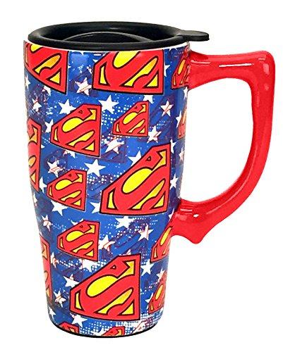 Spoontiques 12753 Superman Logos Travel Mug 16 ounces Blue