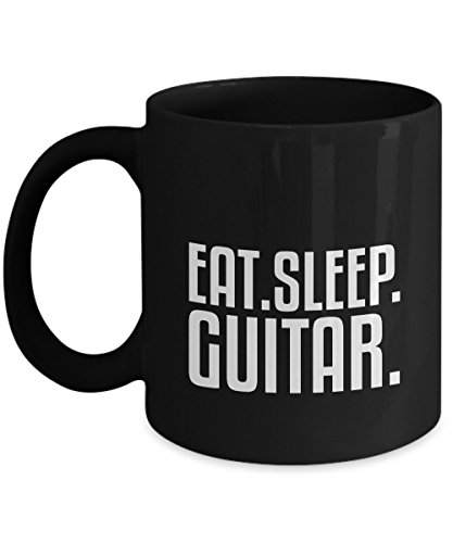 Eat Sleep Black Cool Coffee Nice Guitar Gift Ceramic Travel Warm Mug For Giter Lover and Friends Present
