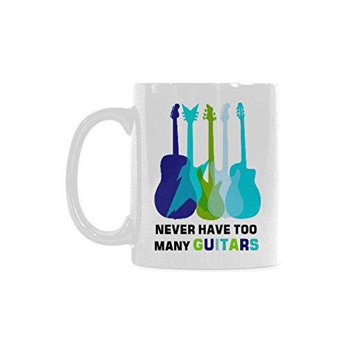 Gift Idea Funny Music Teacher Mug - Never Have Too Many Guitars Coffee Mug Tea Cup White 11Oz