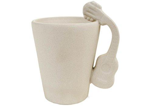 Guitar 8oz Acoustic Unpainted Handmade Ceramic Coffee Mug 10cm x 8cm