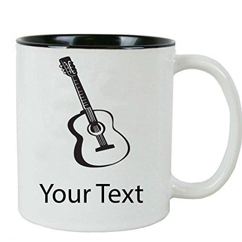 Personalized Custom Guitar 11 oz White Ceramic Coffee Mug with White Gift Box