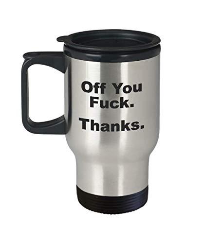 Funny Swearing Travel Mugs - Fuck Off Mug - Funny Swearing Gifts for Women - Funny Work Mugs Coffee - Middle Finger Coffee Mug - Fuck Mugs