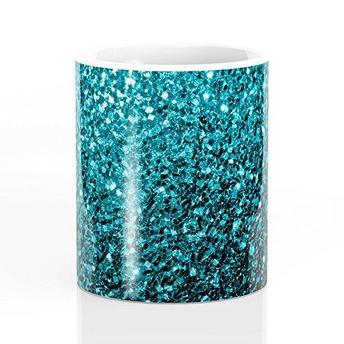 Society6 Beautiful Aqua Blue Glitter Sparkles Mug 11 oz