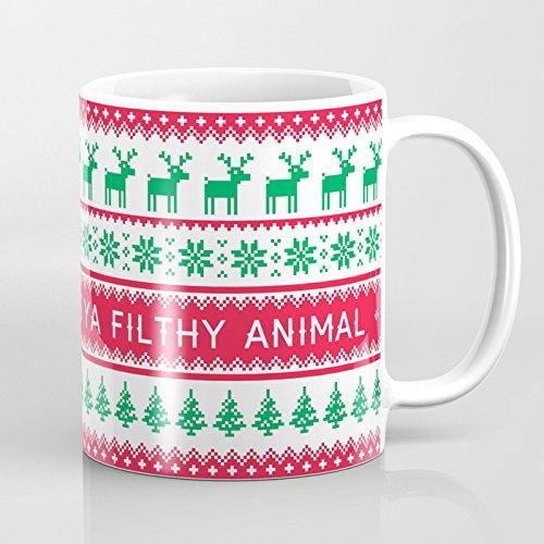 Novelty Merry Christmas Ya Filthy Animal Coffee Mug Ceramic 11 oz Funny Mugs Christmas Mug Holiday Gifts for Dad Mom Best Friends