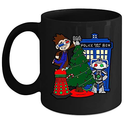 Christmas Tree Mug Doctor Who Police Public Call Box Cup Merry Christmas Cup Coffee Mug 11 Oz - Black