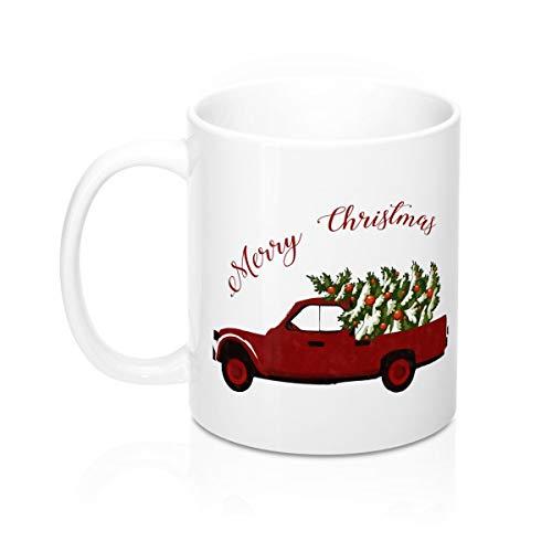 Red Truck With Christmas Tree Mug 11Oz Christmas Table Decoration Holiday tea Mug Merry