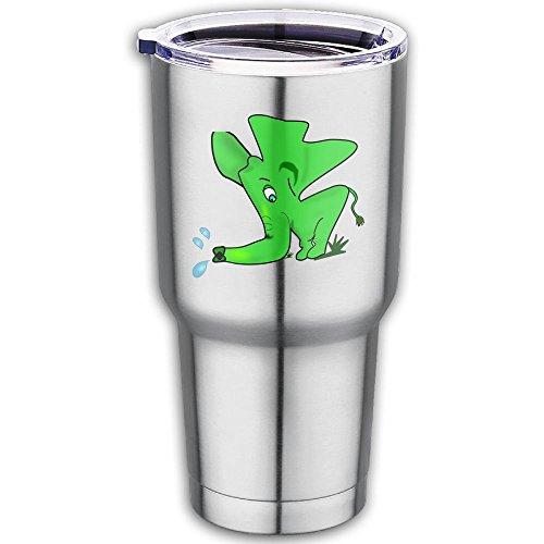 Strange Green Elephant Travel Mug Stainless Steel Coffee Cup Printed Outdoor Mug For Cars