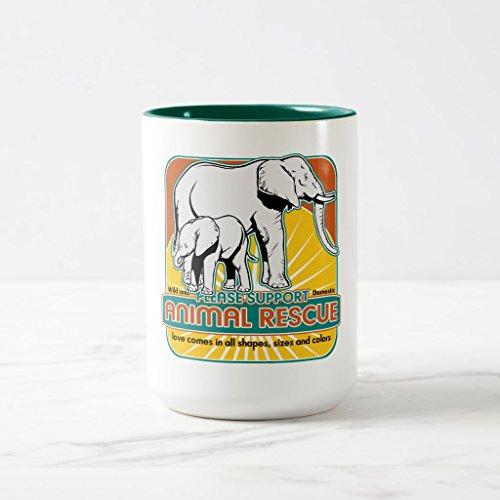 Zazzle Animal Rescue Elephants Travel Mug Hunter Green Two-Tone Mug 15 oz