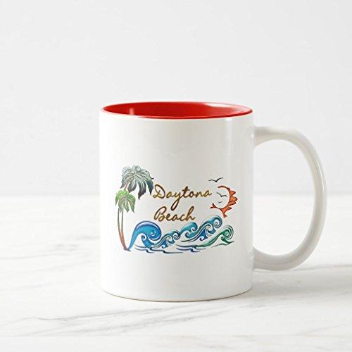 Zazzle 3d Palms Waves Sunset Daytona Beach Coffee Mug Red Two-Tone Mug 11 oz