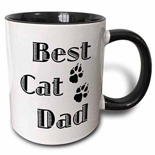 3dRose Best Cat Dad Two Tone Black Mug 11 oz BlackWhite