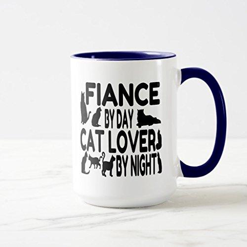 Zazzle Cat Lover Fiance Mug Navy Blue Combo Mug 15 oz