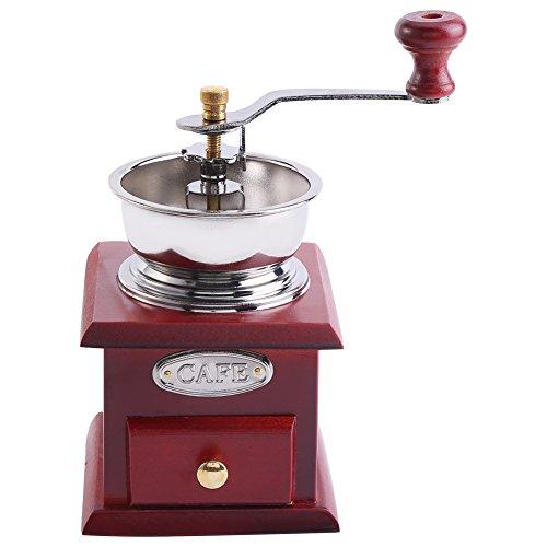 Pomya Vintage Manual Coffee Grinder Retro Design Coffee Bean Hand Grinder Mill Manual Grinding Tool for Home Kitchen OfficeRed Wooden