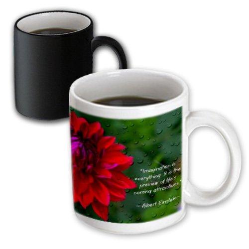 3dRose mug_157332_3 An Inspirational Print with a Quote By Albert Einstein and a Beautiful Dahlia Flower Magic Transforming Mug 11-Ounce