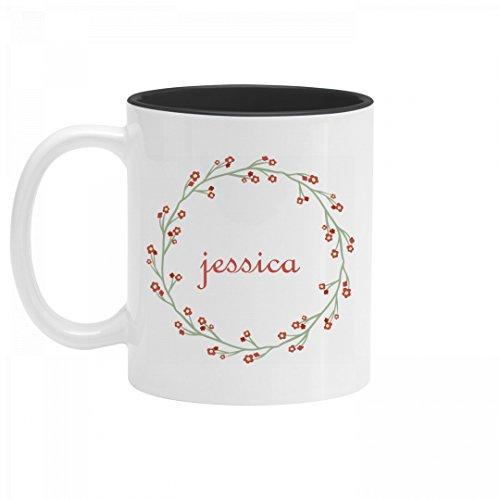 Personalized Jessica Flower Mug 11oz Two Tone Ceramic Coffee Mug