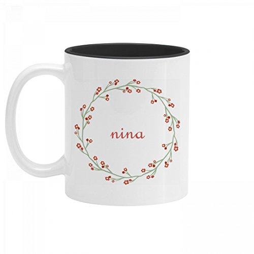 Personalized Nina Flower Mug 11oz Two Tone Ceramic Coffee Mug