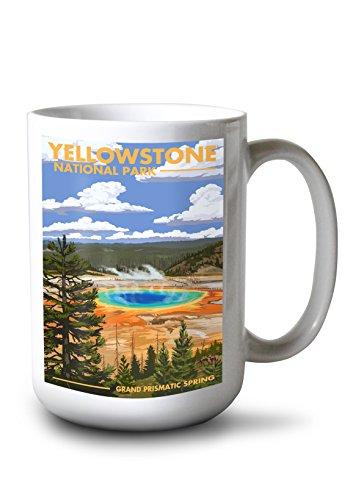 Lantern Press Yellowstone National Park Wyoming - Grand Prismatic Spring 15oz White Ceramic Mug