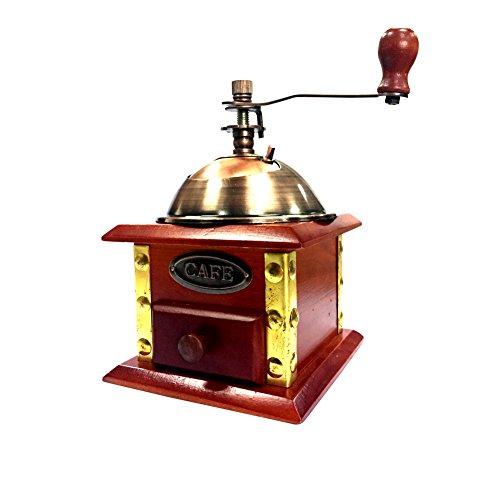 XHHOME Retro Style Manual Hand-crank Coffee Grinder Golden Tone Ceramic Burr Core Wood Case 47x47x67