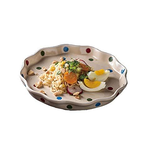Bjzxz Ceramic Plate Set Household Ceramic Dish Wave Point Cute Dessert Salad Plate 5 Pack beige