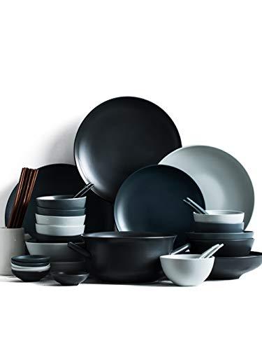 Ceramic Plate Set 46-Piece Ceramic Solid Color Mixed Color Delivery Tableware Rice Bowl Plate Chopsticks Set