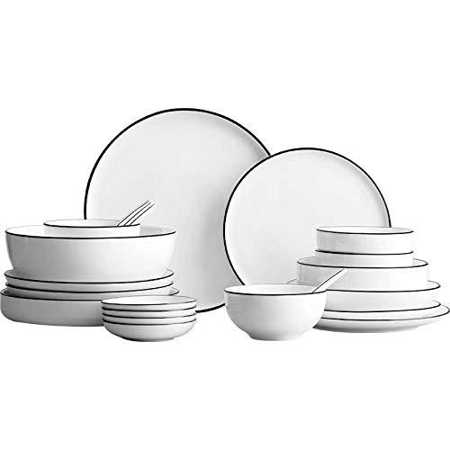 Ceramic Plate SetDish Set Household under Glaze Ceramic Tableware Set Simple Dish Chopsticks Set 17 Piece Set for 4 People