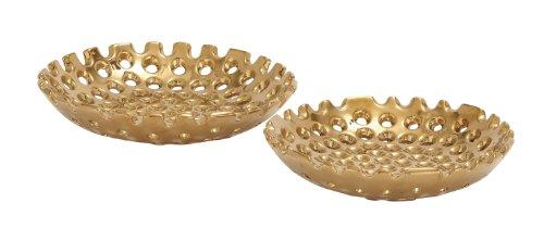 Deco 79 71790 Ceramic Gold Plate Set of 2