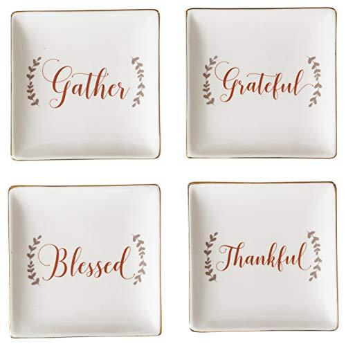 Gather Thankful Grateful Blessed Square White 5 x 5 Ceramic Plates Set of 4