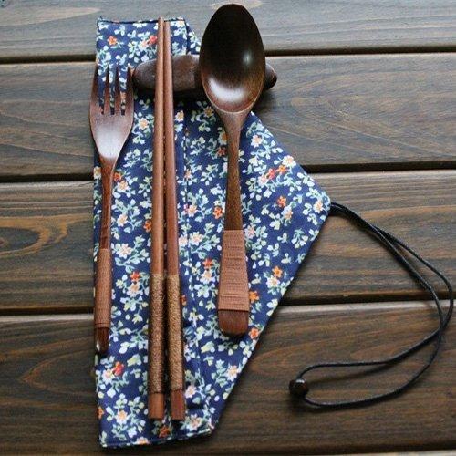 Ecloud Shop Natural Wooden Tableware Sets of 5-pieces 1 Spoon 1 Chopsticks 1 Fork 1 Chopsticks Holder 1 Tableware Bag Blue Floral