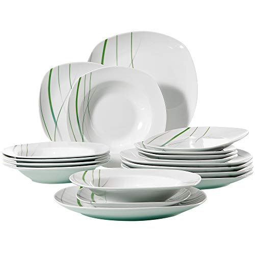 VEWEET 18-Piece Ceramic Stoneware Dinnerware Set Ivory White Plate Sets Green Stripe Patterns Service for 6 Dinner Plate Salad Plate Dessert Plate Aviva Series