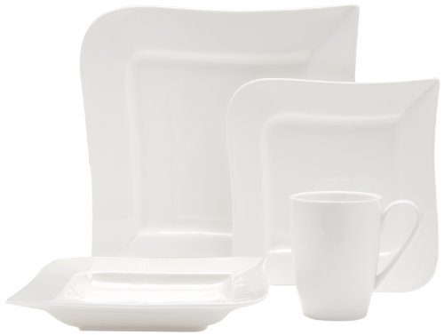 Fortessa Fortaluxe SuperWhite Vitrified China Dinnerware Ojo 4-Piece Place Setting Service for 1