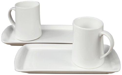 Fortessa Fortaluxe Vitrified China Dinnerware Hot Chocolate 4-Piece Mug and Tray Set