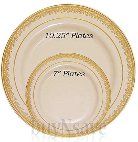 buyNsave Cream with Gold Heavyweight Plastic Elegant Disposable Plates Wedding Party Elegant Dinnerware Prestige Collection 35 7 Dessert Salad Plates