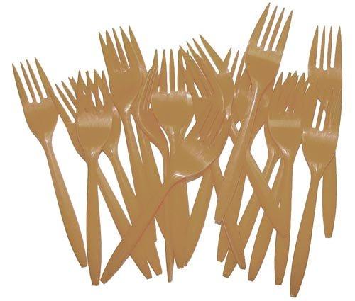 Gold Plastic Forks 48