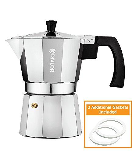 Stovetop Espresso Maker - Moka Pot Aluminum Espresso Machine 3 Cup 2 Extra Gaskets Included By Divlor