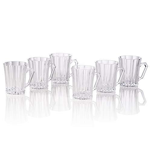 Bezrat Luxury Cappuccino Glass Coffee Tea Cups with Handle Set of 6 Tempered Glass Espresso Cups - Latte Mugs 9 Ounces Espresso Cappuccino