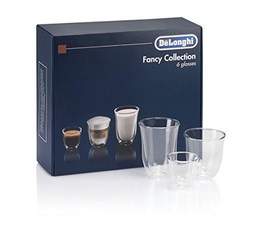 DeLonghi America 551329971 Fancy Collection double Walled Thermo Espresso Cappuccino Latte Macchiato Glasses Set of 6 Clear