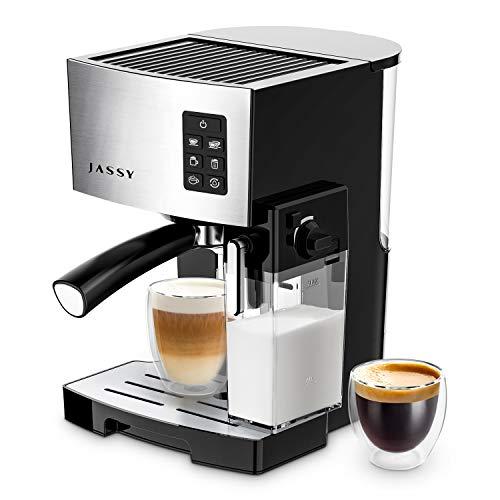 JASSY Espresso Machine Multifunction Coffee Machine with Automatic Milk Frother 19 Bar Pressure Coffee Brewer Programmable for Espresso Double Espresso Cappuccino Latte Black JS100
