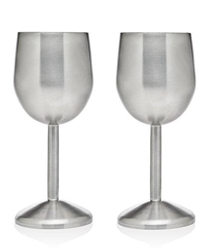 Godinger Silver Art Metallic Stainless Steel Wine Goblets Set of 2